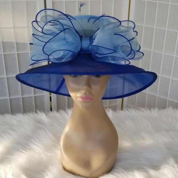 Blue two tone dress church hat - Hat