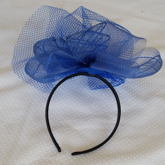 Blue Fascinator Hat with Feathers and Netted Veil - Fascinator