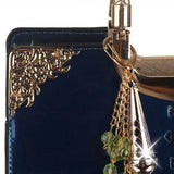 Women's Trendy Beautiful Sapphire Blue Patent Leather Purse/Tote bag - purse-Exclusively You Fashions - 5