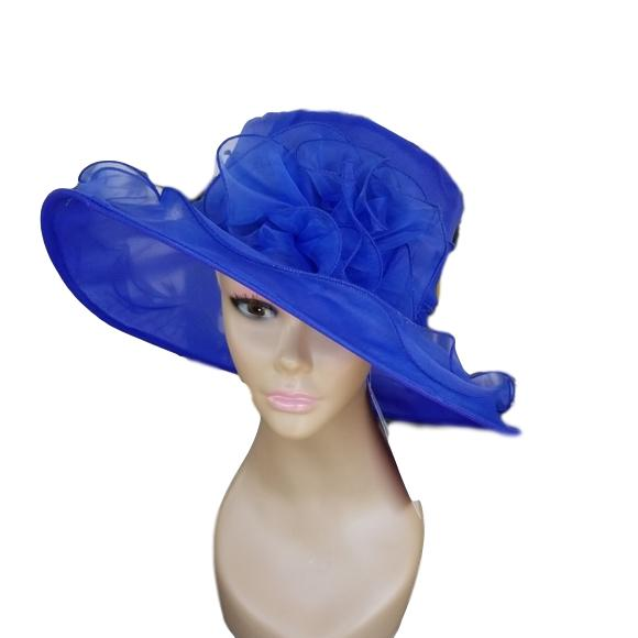 Blue Spring and Summer Hat with Bow - Hat