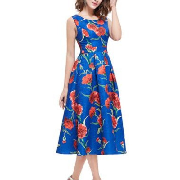 Gorgeous blue dress with flower print size 14 - dress