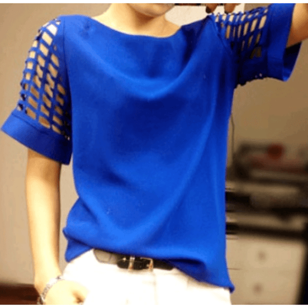 Blue blouse with hollowed out sleeves. Lightweight and comfortable. Size L. - Tops and Blouses