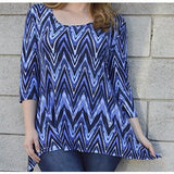 Women's Blue Plus Size Blouse with asymmetric hemline Size 1X - Exclusively You Fashions Boutique, Frostproof, FL