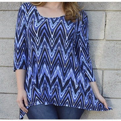 Women's Blue Plus Size Blouse with asymmetric hemline Size 1X - Tops and Blouses-Exclusively You Fashions - 1