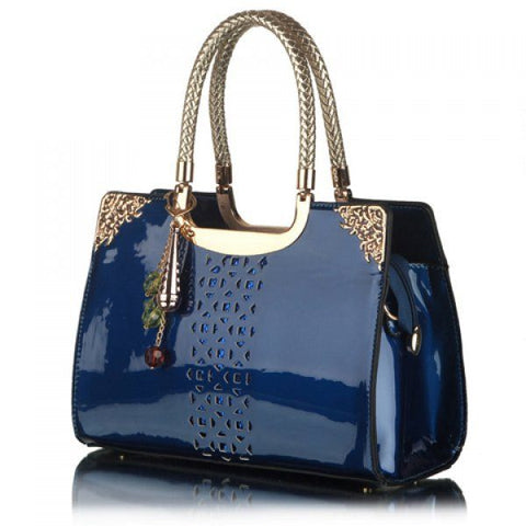 Women's Trendy Beautiful Sapphire Blue Patent Leather Purse/Tote bag - purse-Exclusively You Fashions - 1