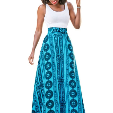 Bohemian Flower Blue Maxi Skirt - Clothes Skirts & Midi