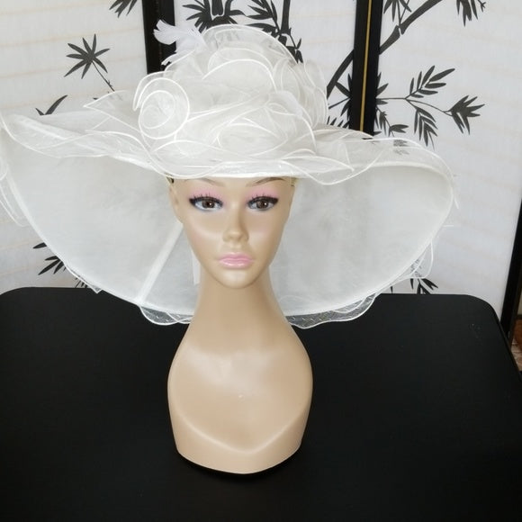White Wide Brim Hat with Bouquet of Roses Trim - Hat