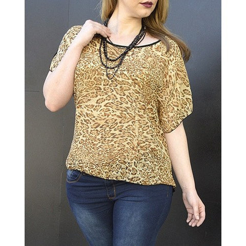 Women's Cheetah Print Blouse. Plus Size - Tops and Blouses-Exclusively You Fashions - 1
