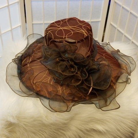 Brown and Gold Church Hat - Hat