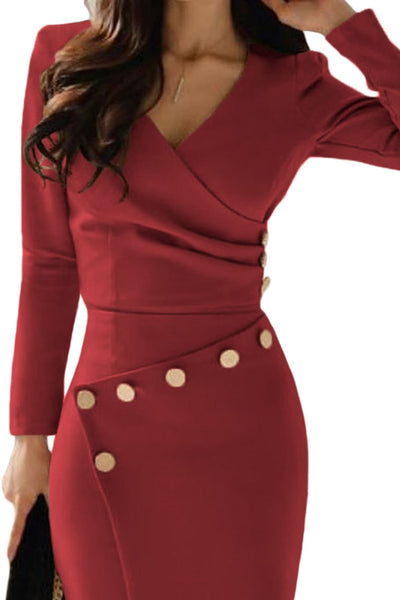 Burgundy Assymetric Button detailed ruched midi dress - Clothes Dresses