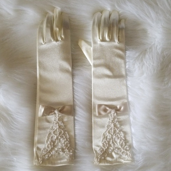 Cream Elbow Length Satin Gloves - Gloves