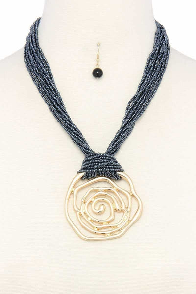 Cut Out Flower Pendant Beaded Chunky Necklace - jewelry