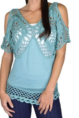 Cute coral cut out sleeve casual blouse with crochet lace top and hemline - M / Teal - Tops and Blouses