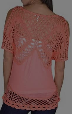 Cute coral cut out sleeve casual blouse with crochet lace top and hemline - Tops and Blouses
