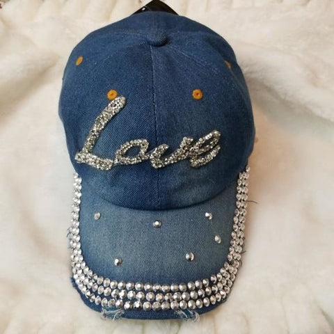 Denim Love crystal studded baseball cap for women - Jeweled cap