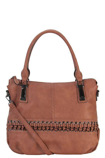 Designer braided accent tote bag - Purses and Handbags