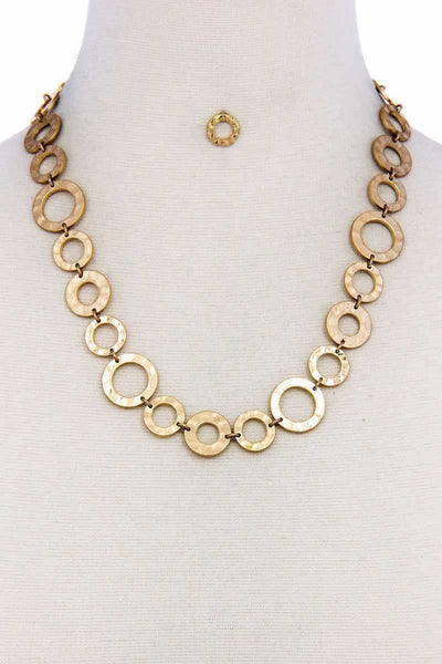 Designer Chic Trendy Hoop Chain Necklace And Earring Set - jewelry
