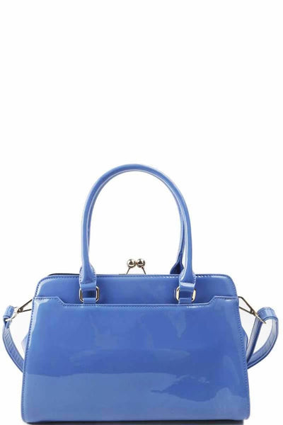 Designer Fashion Glossy Satchel With Long Strap - Purses and Handbags