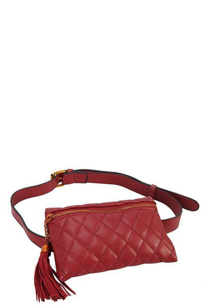 Designer Quilted Belt Fanny Bag - Purses and Handbags