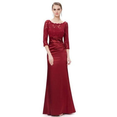 Beautiful and Elegant 3/4 Sheer Sleeves Red Formal Evening Gown - formal gown-Exclusively You Fashions - 1
