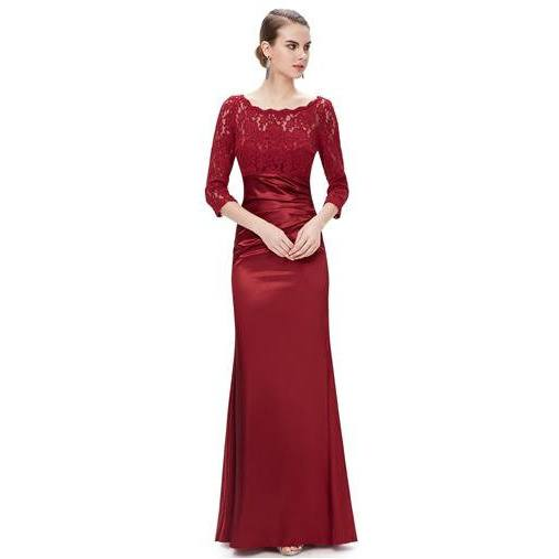 Beautiful and Elegant 3/4 Sheer Sleeves Red Formal Evening Gown - formal gown