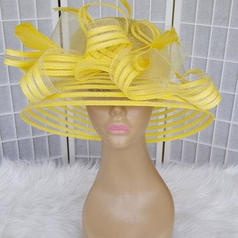 Exquisite Yellow dress hat with mesh design and beautiful bow - Hat