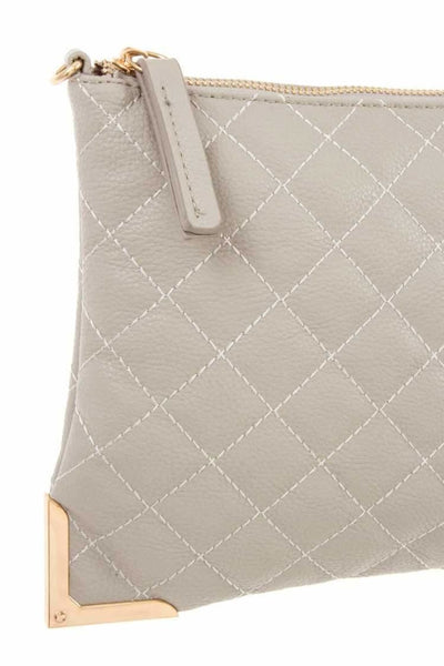 Faux leather quilted detailed clutch bag - Purses and Handbags