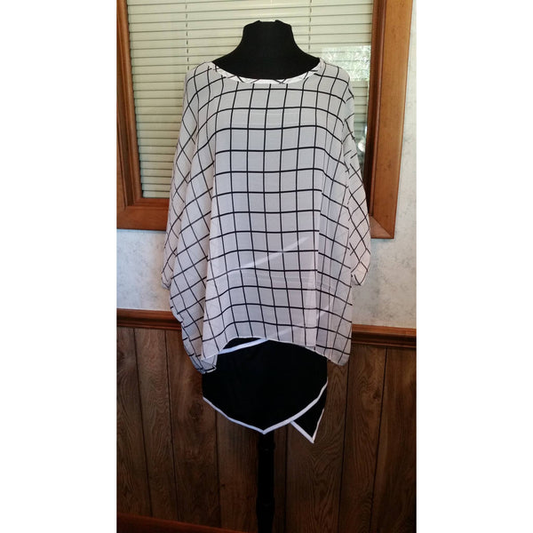 Womens White and Black Checker Print Boho Chiffon Blouse One Size - Tops and Blouses