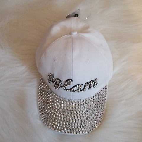 Glam White Bejeweled Cap - Jeweled cap