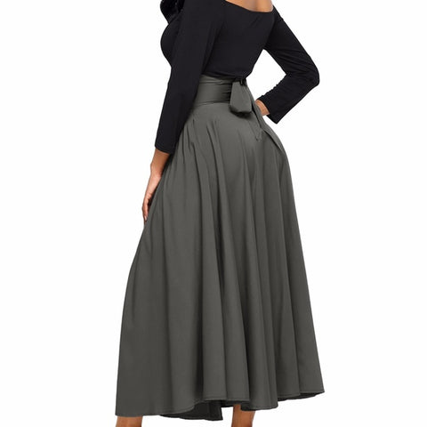 Gray retro high waisted skirt with sash - Exclusively You Fashions Boutique, Frostproof, FL