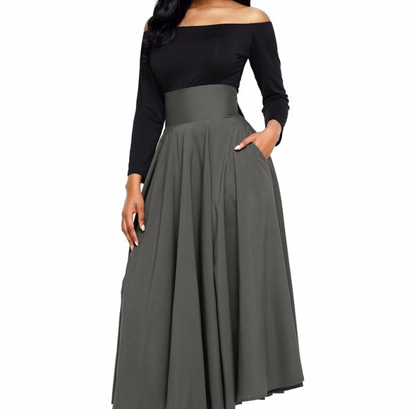 Gray retro high waisted skirt with sash - Skirts