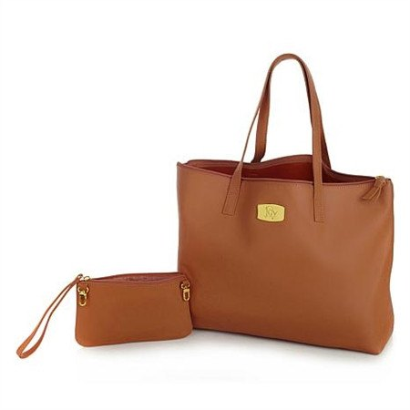 Very Spacious Mangano Leather Tote with clutch - purse