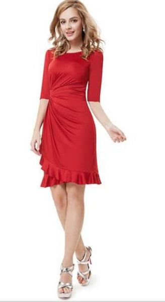 Just in! Cute Red Dress with figure flattering ruched waist and ruffled hem - Dresses