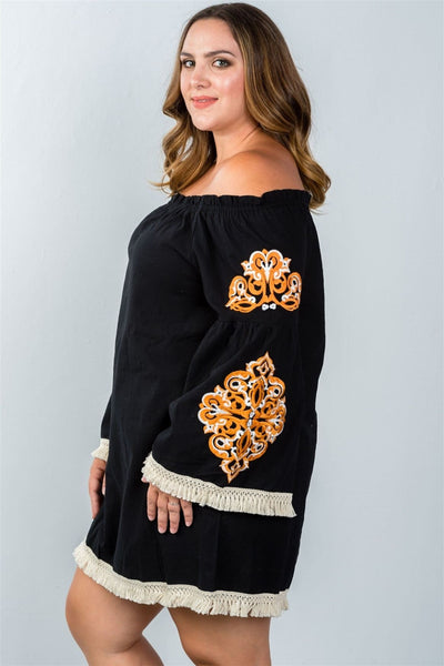 Ladies fashion plus size boho floral embroidered off-shoulder dress - Dresses