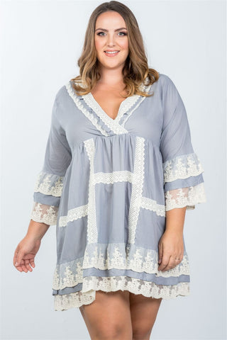 Ladies fashion plus size grey boho lace crochet trim dress - Dresses
