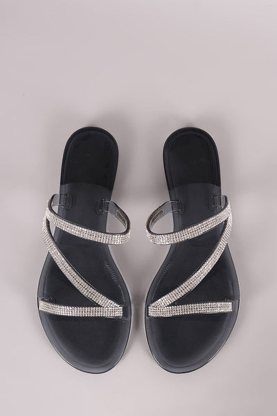 Liliana Strappy Rhinestone Accent Jelly Flat Sandal - Shoes Sandals