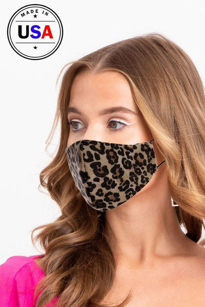 Made In Usa Fashionable 3d Reusable Face Mask - Leopard - Face Mask
