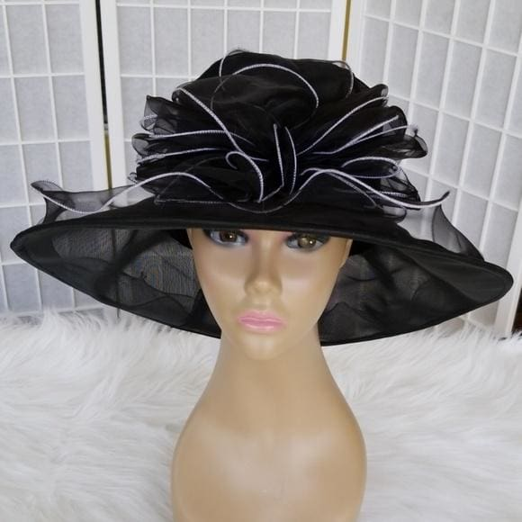Organza Dress hat in Purple Black and Gold - Hat