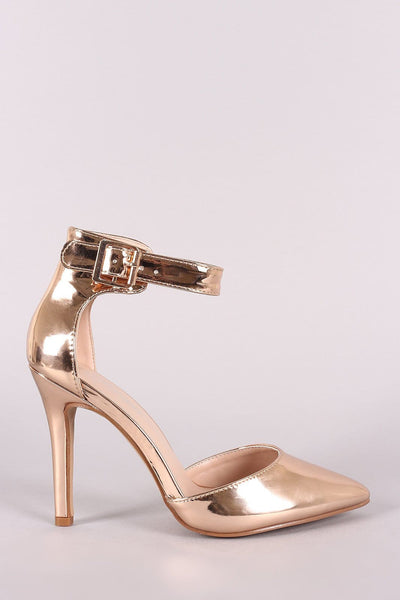 Patent Pointy Toe Ankle Strap Pump - Shoes Heels Pumps