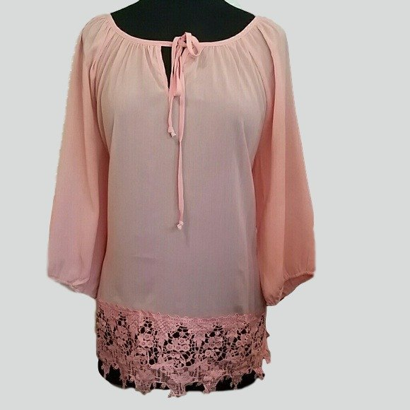 Womens Peach Lace Hem Chiffon Plus Size blouse - Tops and Blouses