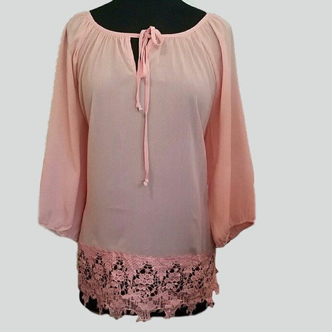 Women's Peach Lace Hem Chiffon Plus Size blouse - Tops and Blouses-Exclusively You Fashions - 1
