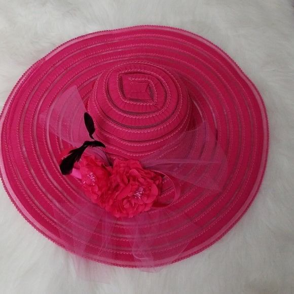 Hot Pink Sun Hat with Carnation Bows - Hat