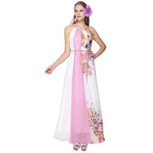 Pink and White Halter Neck Evening Dress with Belt. Size 10 - Dresses