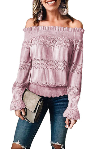 Pink Ruffled Lace Blouse - Clothes Tops