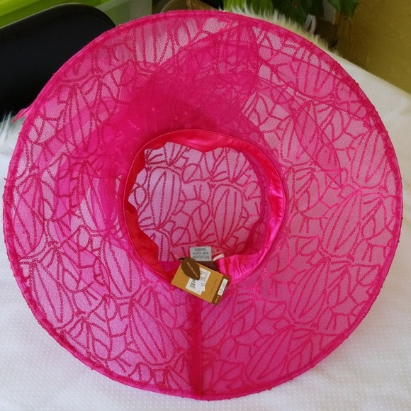 Ladies Hot Pink Dress Hat with Sequins - Hat