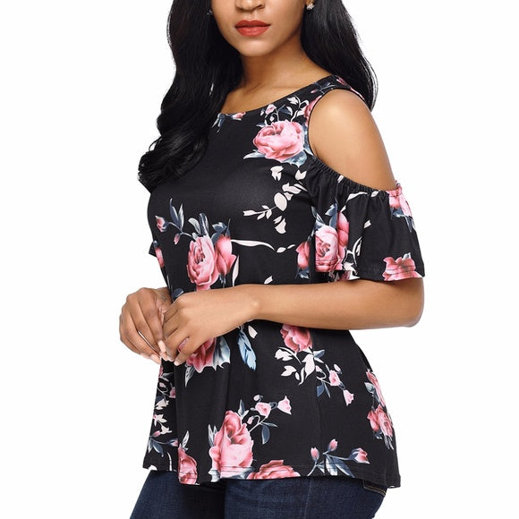 Black and Pink Floral Print Blouse - Tops and Blouses