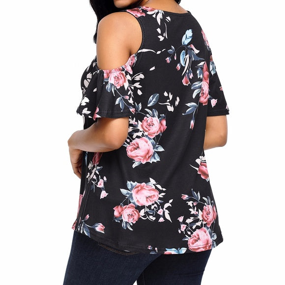 Black and Pink Floral Print Blouse - Exclusively You Fashions Boutique, Frostproof, FL