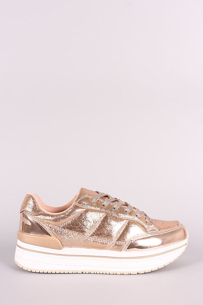 Qupid Distressed Leather Lace Up Flatform Sneaker - Shoes Heels Flats Sneakers