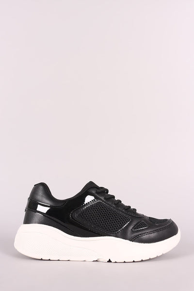 Qupid Mesh Trim Round Toe Lace-Up Sneaker - Shoes Flats Sneakers