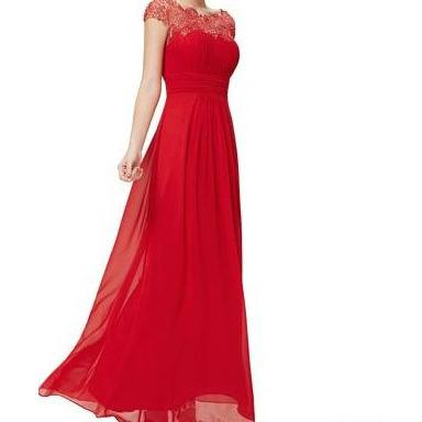 Beautiful Red Evening Gown with Lacey Neckline and Bust - formal gown